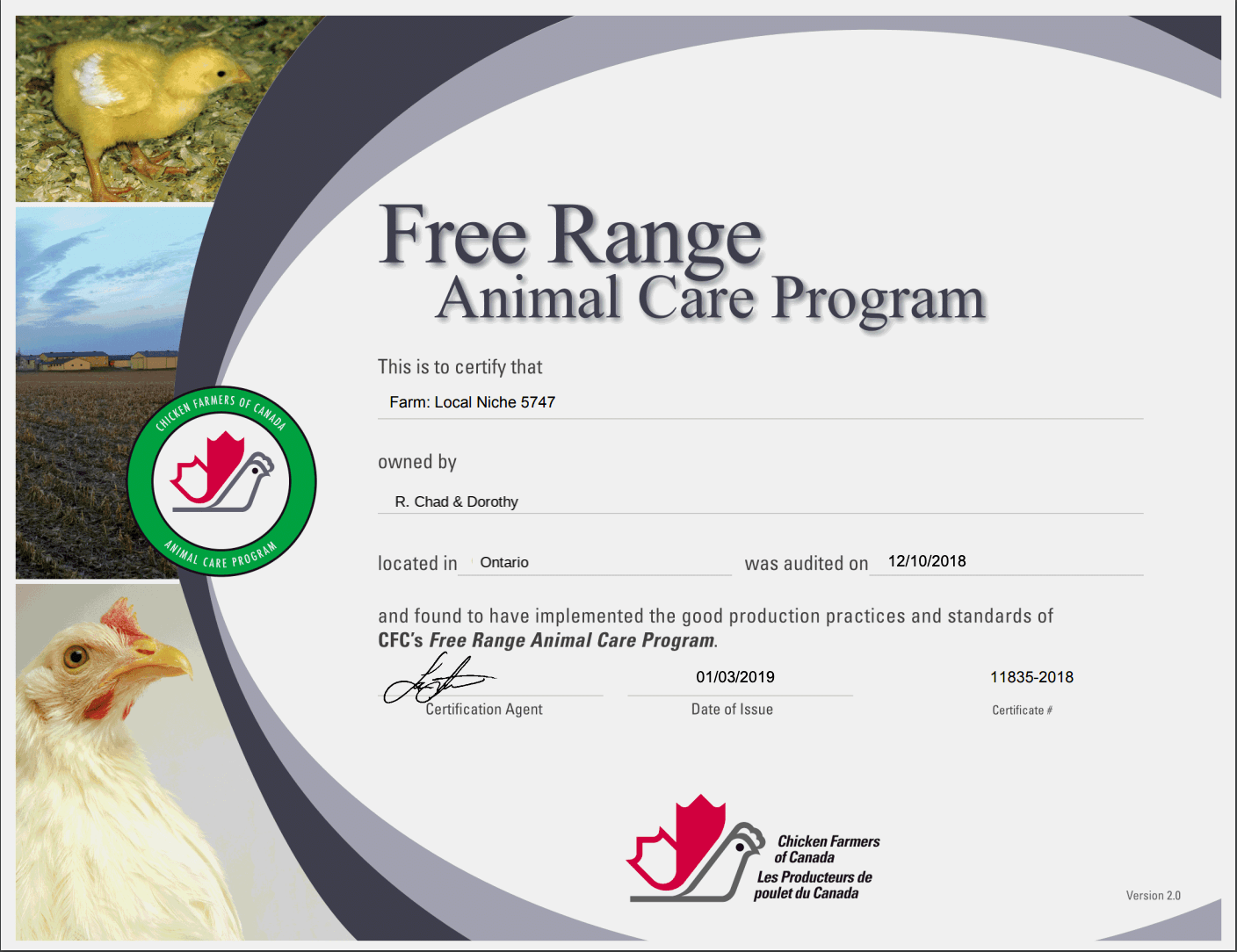 Free Range Animal Care Program - Ontario (edited)